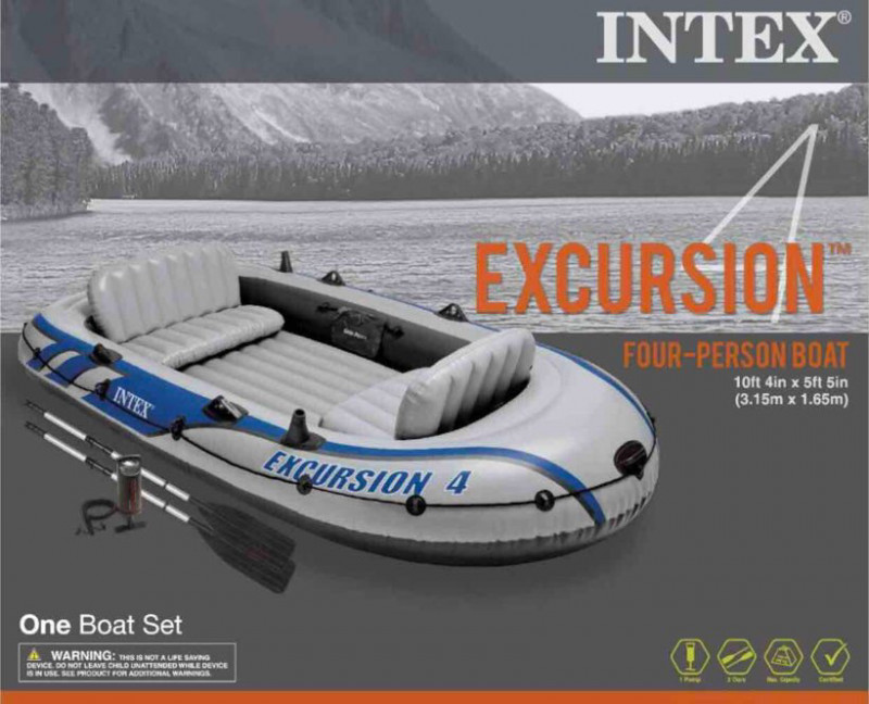 intex excursion 4: 4 person inflatable boat-1