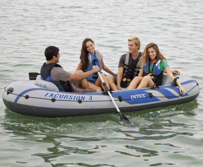intex excursion 4: 4 person inflatable boat-2