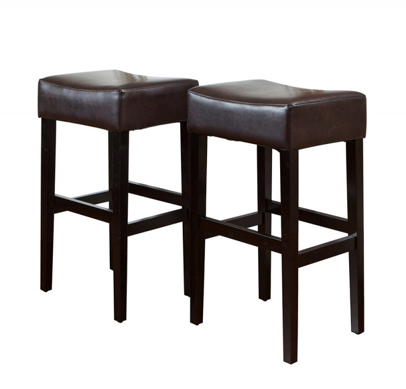 brown leather square bar stools