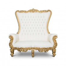 Love seat - gold & white