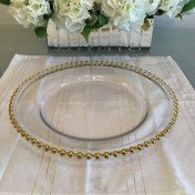 Charger plates - glass with gold beads
