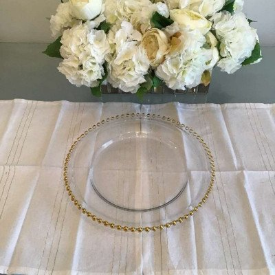 charger plates - glass with gold beads-1