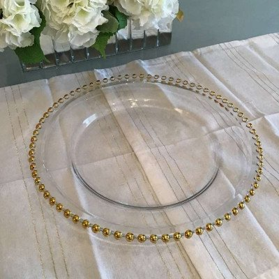 charger plates - glass with gold beads-2