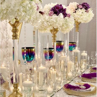 gold candle holders - large-1