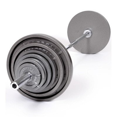 Weight bar with 300lbs of plates picture 1