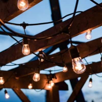 wood pergola with industrial lights-1