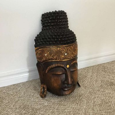 decorative hand carved wooden buddha head-1