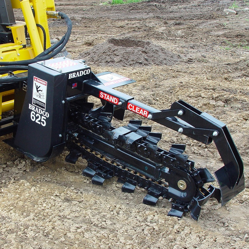 Trencher attachment for skidsteer