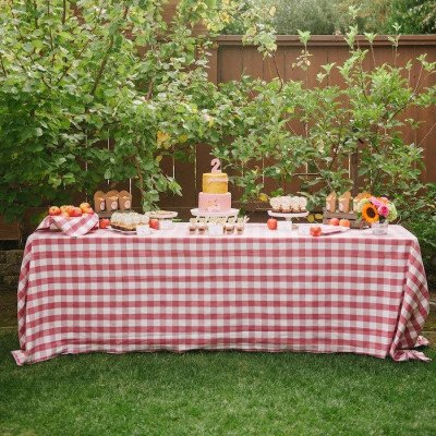 """Lyme Check Strawberry 101""""x156"""" Tablecloth picture 1"""