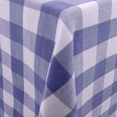 """Lyme Check French Blue 101""""x156"""" Tablecloth picture 1"""