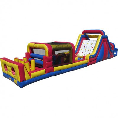 60' Long Inflatable Rockwall, Slide, and Obstacle Course Combo picture 1