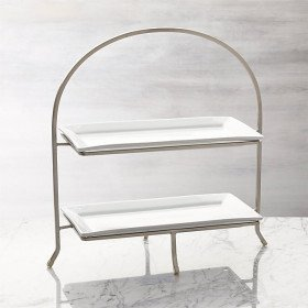 White Stoneware Two-Tiered Display Stand