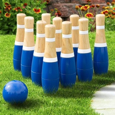 wooden lawn bowling set picture 1