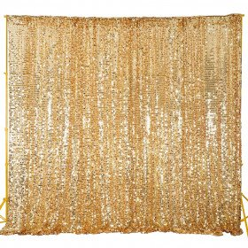 Gold Sequin Backdrop, Draped with Gold Fabric