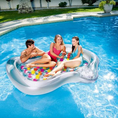 inflatable durable lounge raft with cup holders picture 1