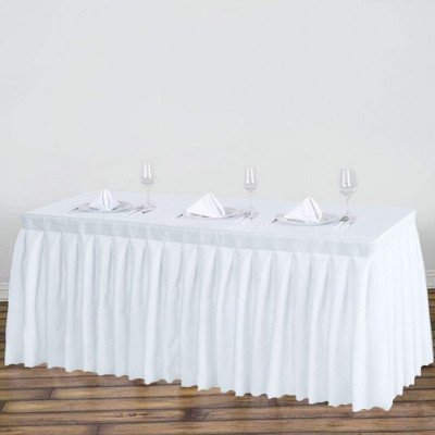 polyester table skirt - white