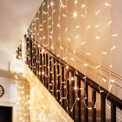 twinkle window curtain string light