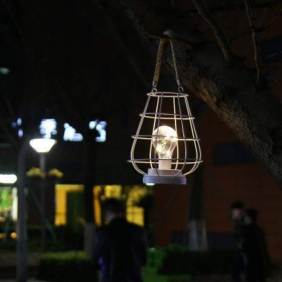 metal cage led lantern battery powered