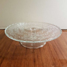 Glass cake display plate