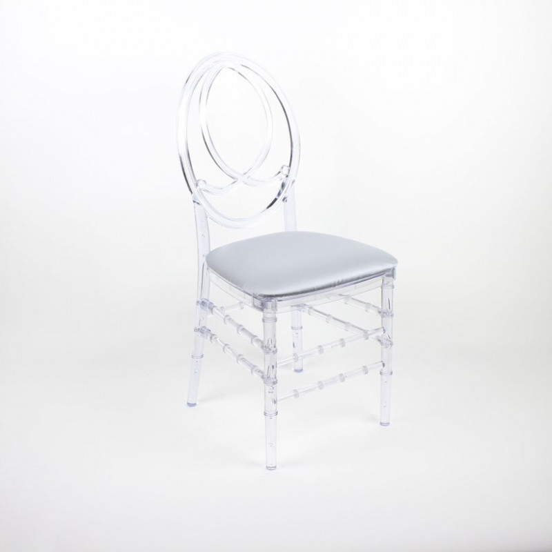 Infinity chair - clear with white cushions