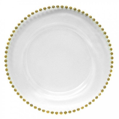 glass charger plates with gold beads