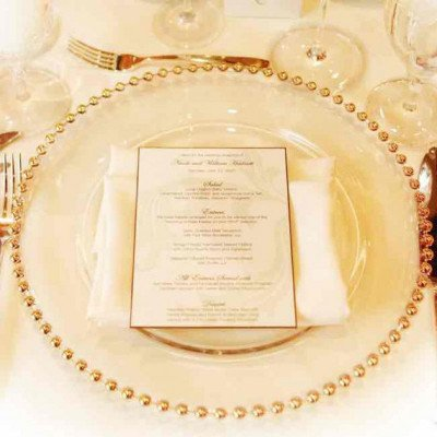 glass charger plates with gold beads-1