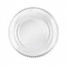 Charger plates - clear beaded glass