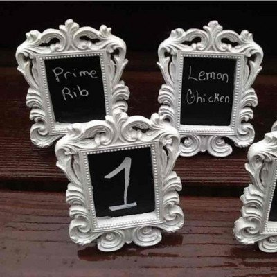 vintage white frames for table numbers-1