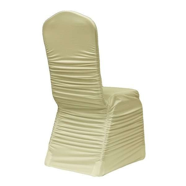 ruched chair cover - ivory-1
