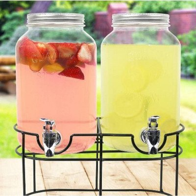 1 gallon Glass Mason Jar Double Beverage Drink Dispenser picture 1