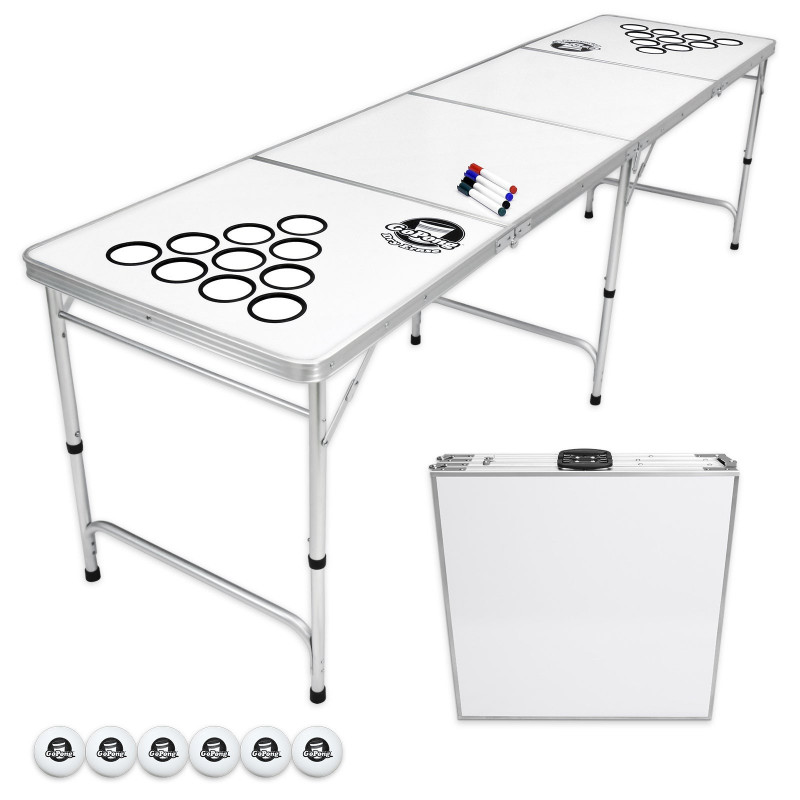 Beer pong table with cups