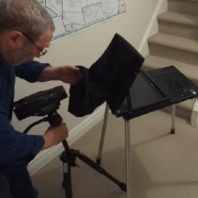 Teleprompter kit with Da-lite project-o-stand for video productions- indoors or on location.