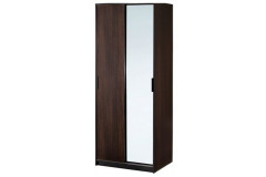 Dark Brown Wardrobe with Mirror Glass