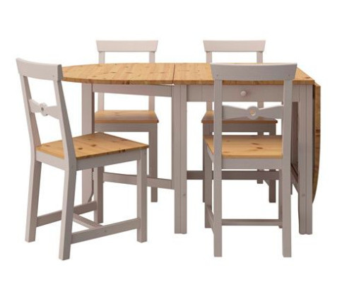 table and 4 chairs, light antique stain