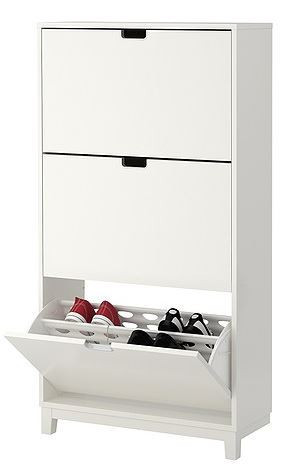 Shoe Rack with 3 Compartment, White