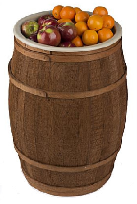 wooden barrel display dump bin