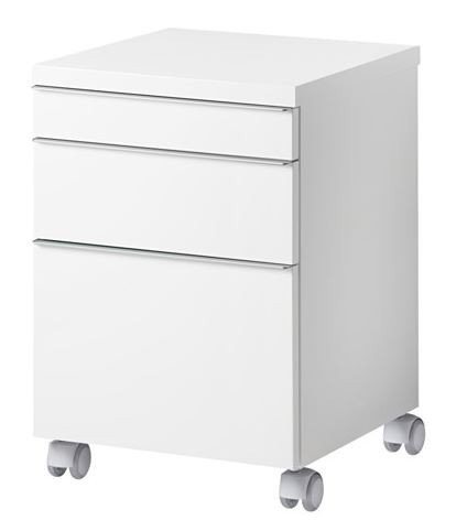 Drawer Unit on Casters, High Gloss White