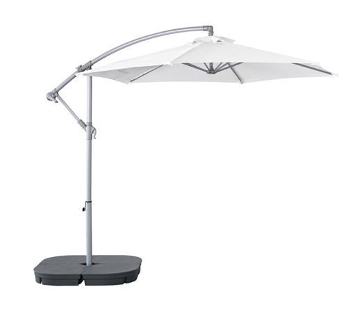 Offset Umbrella with Base, White