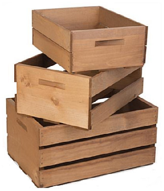 set of 3 – light brown wooden crates