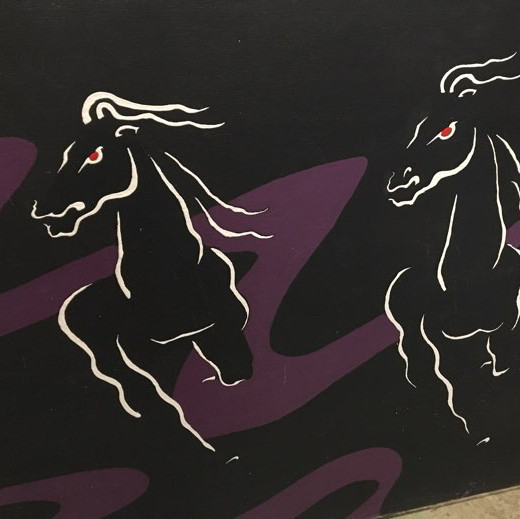 Wild horses painted mural