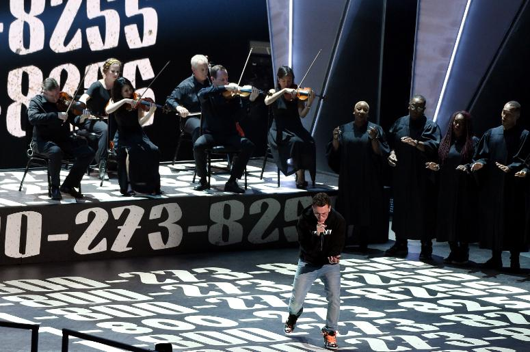 Logic performs on the 2017 'MTV Video Music Awards' at The Forum on August 27, 2017 in Los Angeles, California.