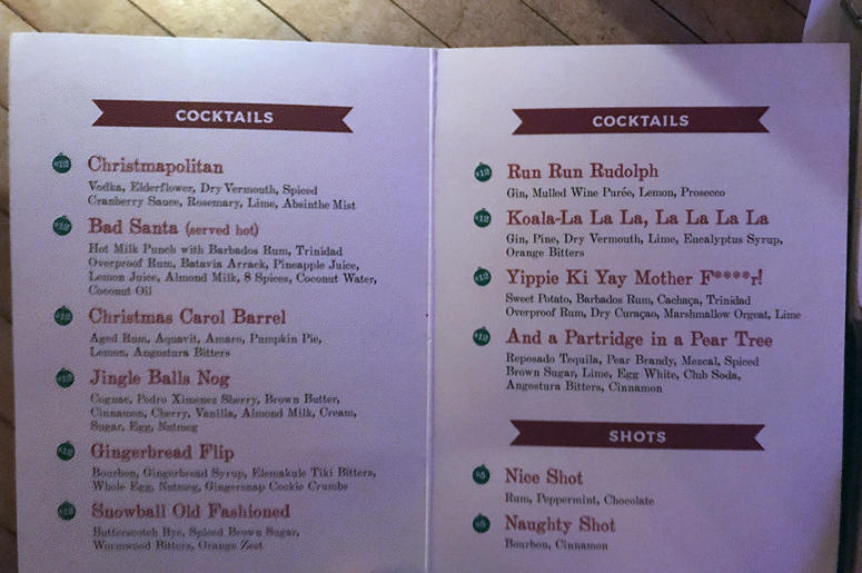 Miracle on 2nd cocktail menu