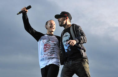 File photo dated 14/06/14 of Linkin Park's Mike Shinoda with Chester Bennington