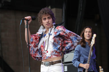 Josh Kiszka of the band 'Greta Van Fleet' performs on stage during Cal Jam 18