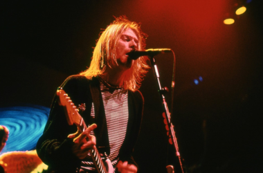 Kurt Cobain from Nirvana performs in Concert on November 14, 1993 at New York Coliseum