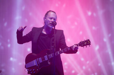 Thom Yorke from Radiohead performs at the Glastonbury Festival on June 23, 2017