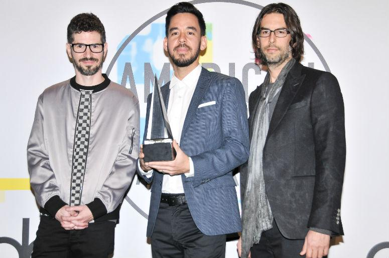 Brad Delson, Mike Shinoda and Rob Bourdon of Linkin Park at the 2017 American Music Awards