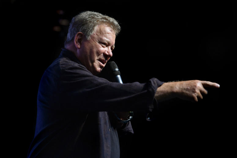 William Shatner, who played Captain Kirk in the original Star Trek, during a press conference to launch Destination Star Trek Europe