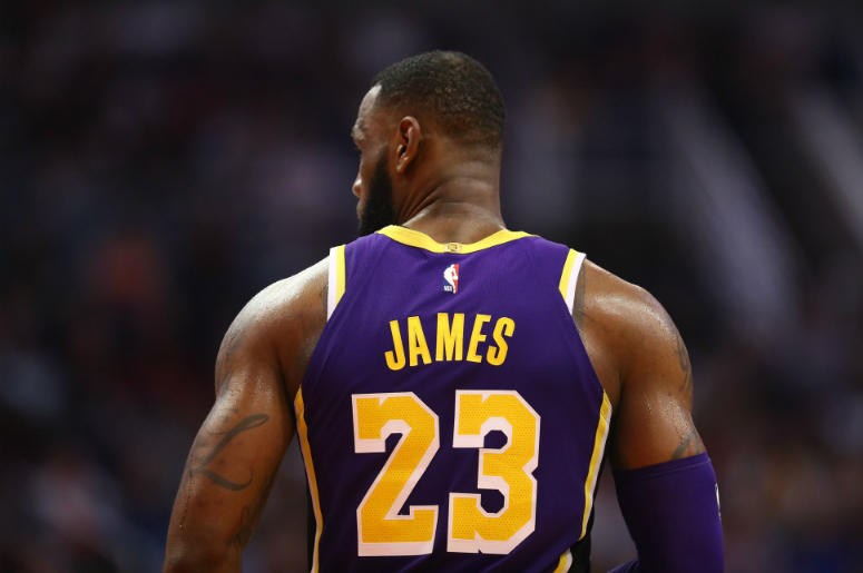 Detailed view of the jersey worn by Los Angeles Lakers forward Lebron James  (23) 152f1856e