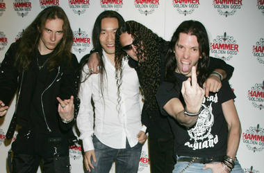 Herman Li, ZP Theart, Sam Totman, Dave Mackintosh, Adrian Lambert and Vadim Pruzhanov of Dragonforce arrive at The Metal Hammer Golden Gods Awards at the The Astoria 13, 2005 in London, England. The annual tongue-in-cheek awards ceremony is organised by M